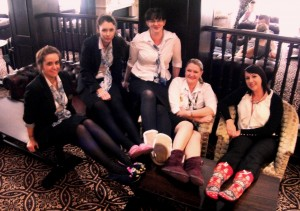 Staff at the Buckatree Hall Hotel in Telford wearing slippers