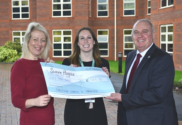 Pictured are, from left, Maria Jones, Lucy Ruff and Richard Sheehan, at Severn Hospice in Telford.