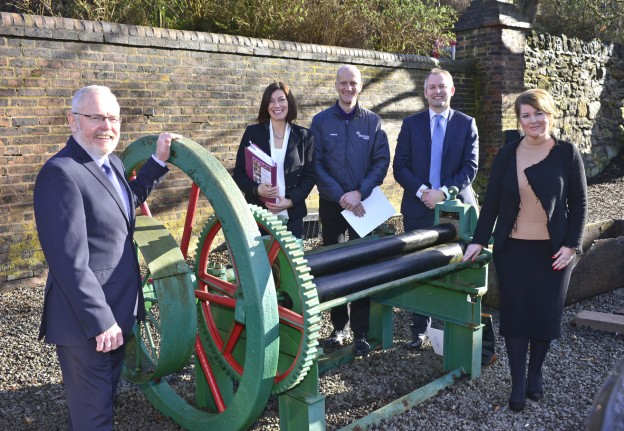 Cogs and wheels of networking at Ironbridge for chamber membership advisor Nigel Parry (LEFT), with from left, Jennifer White, of Jam Learning Solutions, Jason King, of Bayfield Vehicle Hire, Stephen Burke, of FBC Manby Bowdler Solicitors and Samantha Haydon, of Shine Works.